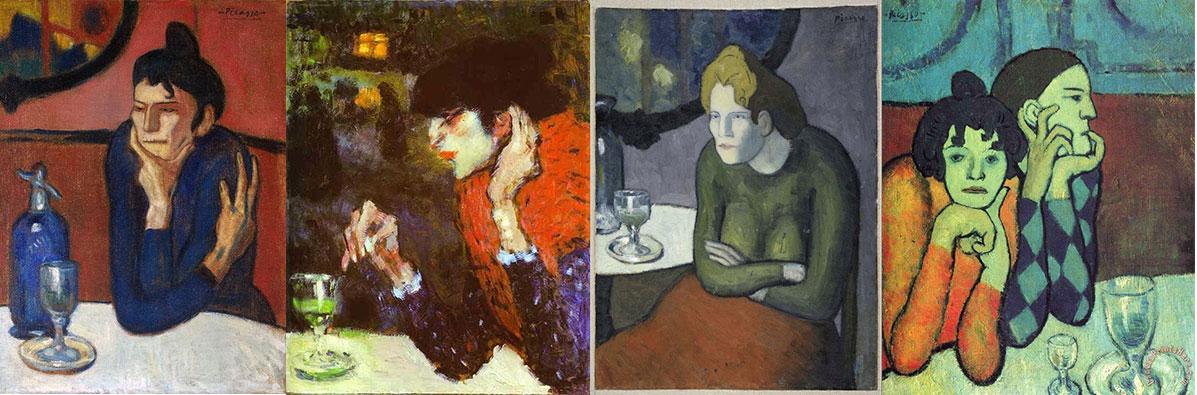 """""""As bebedoras de absinto"""" de 1901 por Pablo Picasso, 1881-1973"""