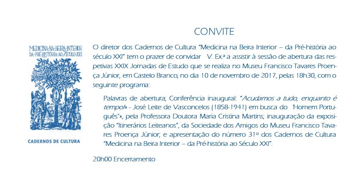 """XXIX Jornadas de Estudo """"Medicina na Beira Interior - da Pré-história ao Século XX"""""""