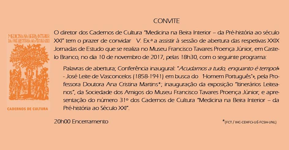 """XXIX Jornadas de Estudo """"Medicina na Beira Interior - da Pré-história ao Séc. XXI"""""""
