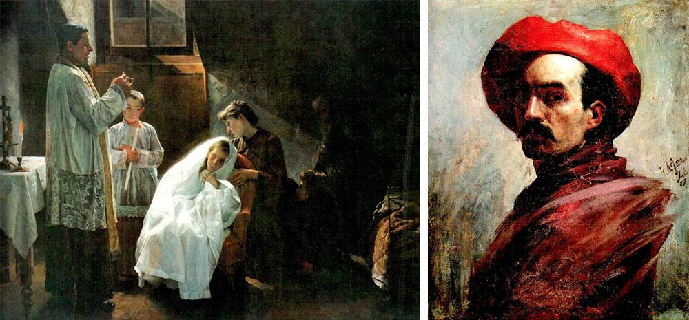 "Da esquerda para a direita, respetivamente: ""A primeira e última comunhão"" de 1888, por Cristobal Rojas, pintor venezuelano, 1857-1890 e ""Auto-retrato"" de 1887, do mesmo autor"