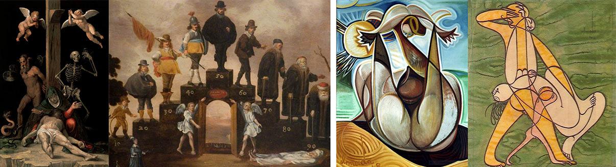 """""""Alegoria da redenção"""" (1585) (Jacopo Logozzi, 1647-1627), """"As idades do homem"""" (1650) (Cornelis Saftleven, 1607-1681), """"Maternidade"""" !1948) e """"Homem, Mulher e Criança"""" (séc. XX) (Almada Negreiros, 1893-1970)"""