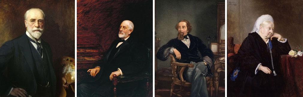 """Da esquerda para a direita, respetivamente, """"Auto-retrato"""" de 1911, por Luke Fields, Pintor Inglês, 1843-1927; """"Henry Tate"""" de 1897, por Hubert Herkomer, pintor anglo germânico, 1849-1914; """"Charles Dikens"""" de 1859, por William Frith, pintor inglês, 1819-1902, e """"Raínha Vitória"""" de 1900, por Bertha Muller, pintora austríaca, 1848-1937"""