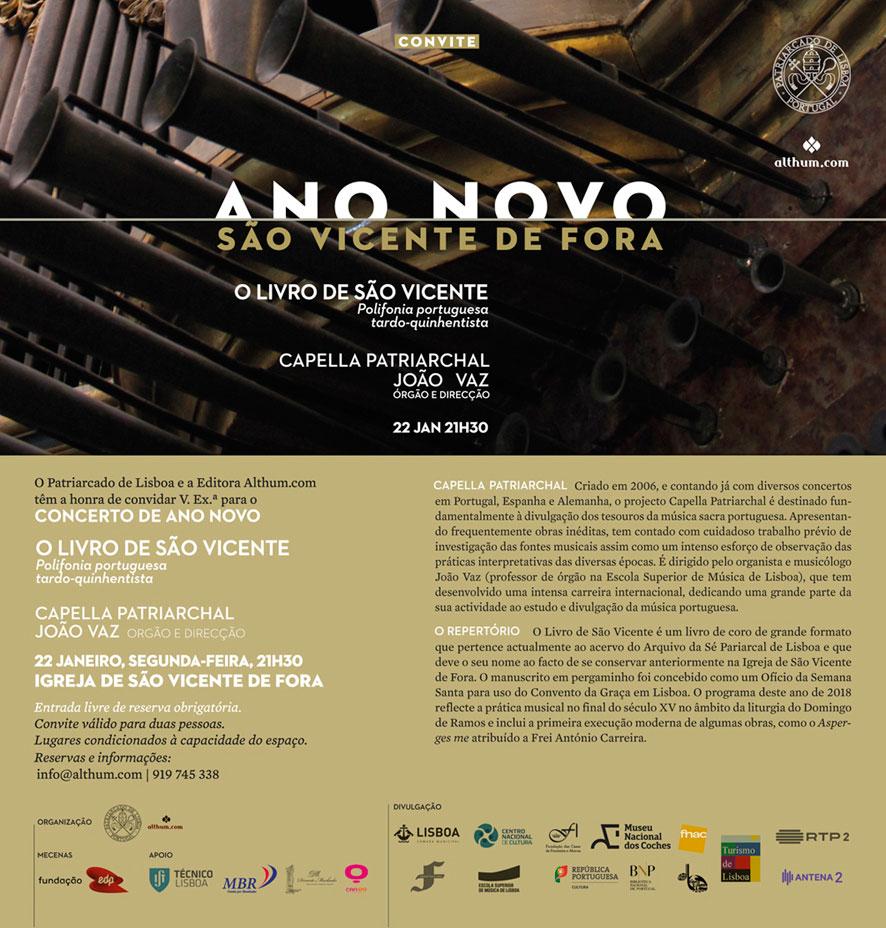 Concerto de ANO NOVO 2018 | Igreja de São Vicente de Fora