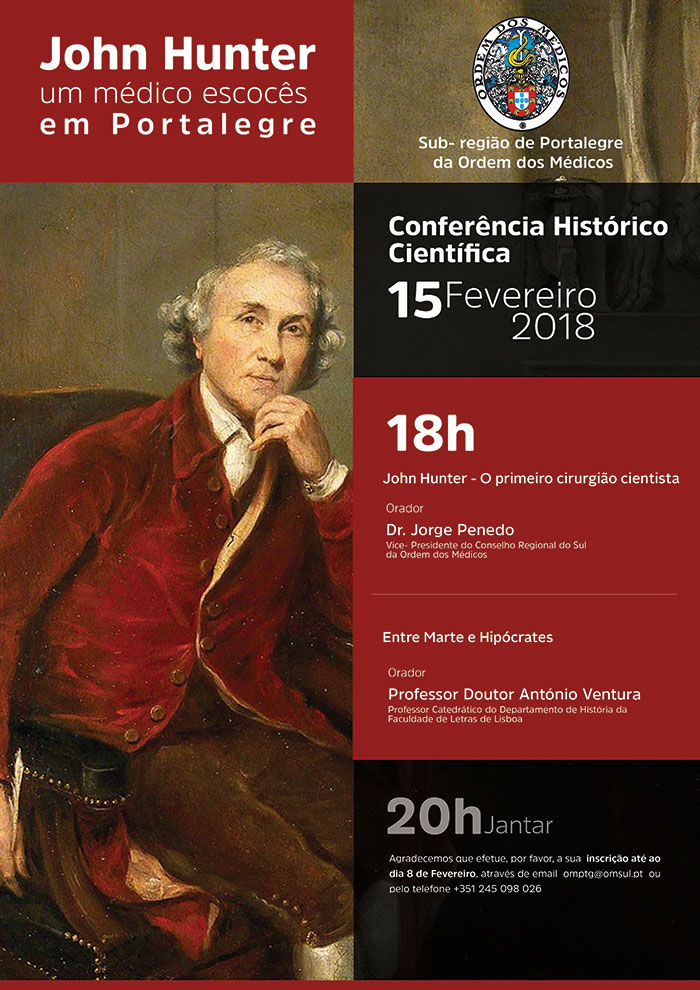 """Conferência Histórico Científica em Portalegre """"John Hunter - um médico Escocês em Portalegre"""""""