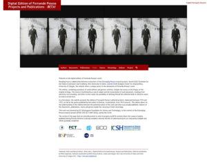 """Página inicial do sítio web """"Edição Digital de Fernando Pessoa: Projectos e Publicações"""""""