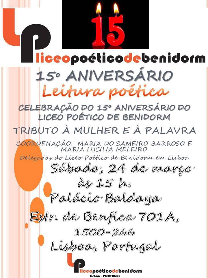 """Convite para leitura de poesia no Palácio Baldaya a 24 de Março. Sábado, às 15h: """"Tributo à Mulher e à Palavra"""""""