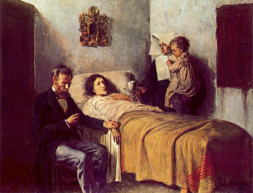 """Ciência e Caridade"""" de 1897, por Pablo Picasso, pintor espanhol (1881-1973)"""