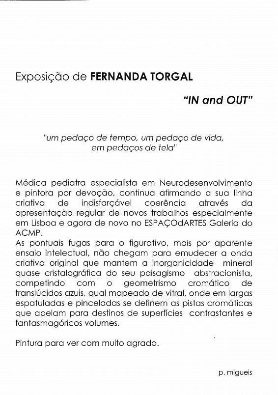 FERNANDA TORGAL :: Exposição de Pintura