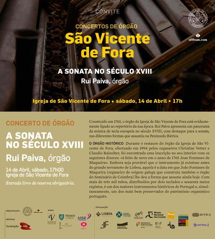 Concerto de órgão | Igreja de São Vicente de Fora | 14 de Abril, sábado, 17h | Rui Paiva, órgão