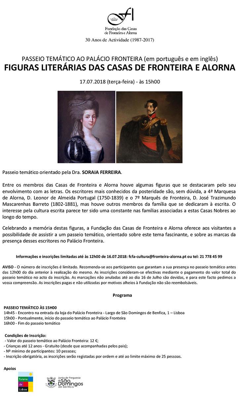 Figuras Literárias das Casas de Fronteira e Alorna - Passeio Temático | 17 Julho 2018, terça-feira, 15h00
