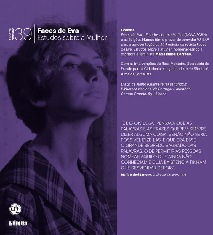 Lançamento   Revista Faces de Eva. Estudos sobre a Mulher   21 jun.   18h00   BNP
