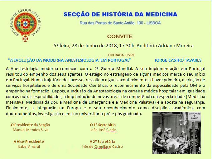 """Sessão SHM-SGL de 28 Junho 2018 - """"A evolução da moderna Anestesiologia em Portugal"""" - Jorge Castro Tavares"""