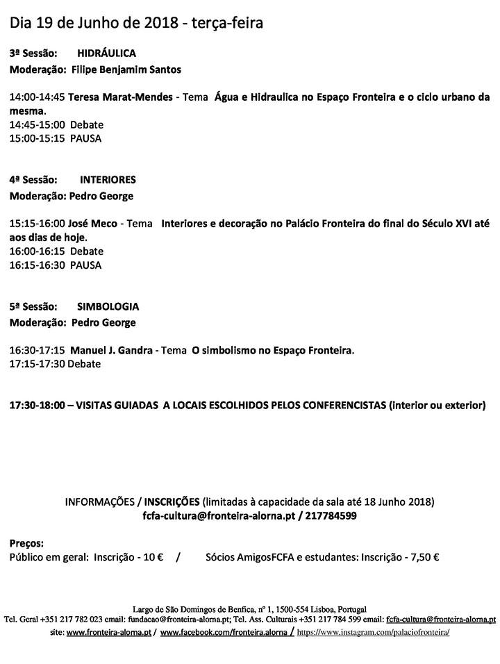 """Colóquio """"O Espaço Fronteira - Em Busca de uma Visão Integrada""""  18 e 19 de Junho  Palácio Fronteira"""