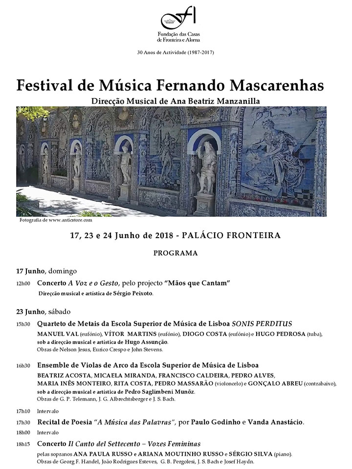 Festival de Música Fernando Mascarenhas | 17, 23 e 24 de Junho 2018| Palácio Fronteira