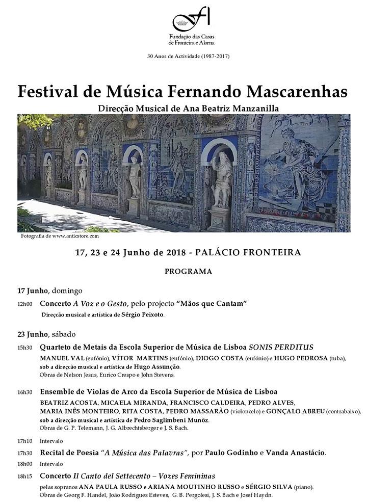 Festival de Música Fernando Mascarenhas | 23 e 24 de Junho 2018| Palácio Fronteira