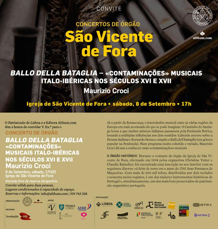 ENTRADA LIVRE: Concerto de órgão | Igreja de São Vicente de Fora | 8 de Setembro, sábado, 17h | Maurizio Croci, organista italiano