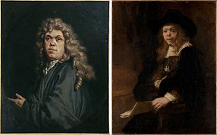 """Quadros, respetivamente, """"Autoretrato"""", do sec.XVII, por Gerard de Lairesse, 1641-1711, e, """"Retrato"""", de 1665, por Rembrandt von Rijn, 1608-1669"""