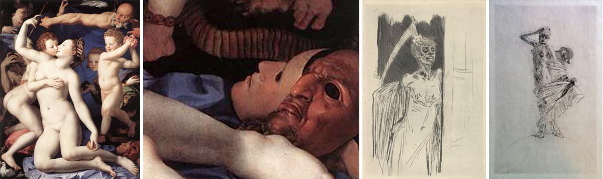 """Quadros, respetivamente, """"Vénus e Cupido"""", de 1540, por Angelo Bronzino, 1503-1572, (idem, pormenor do canto inferior direito), """"Prostituta"""", de 1878, e, """"A loucura e a prostituição dominam o muindo"""", do sec XIX, ambos por Felicien Rops, 1833-1898"""
