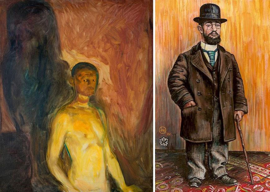 """Quadros, respetivamente, """"Autoretrato no inferno"""", de 1903, e, """"Autoetrato"""", por Edvard Munch, 1865-1944, e, Henri de Toulouse Lautrec, 1864-1901"""