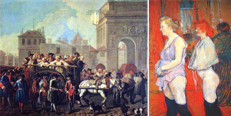 """Quadros, respetivamente, """"Condução das prostitutas para a Salpetriére"""", de 1770, e, """"A mosinspeção médica"""", de 1894, por, Étienne Jeaurat, 1699-1789, e, Henri de Toulouse Lautrec, 1864-1901"""