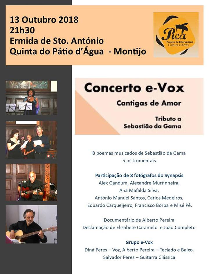 Convite para concerto e-Vox - Ermida Sto. António - Montijo - 13 Outubro - 21h30