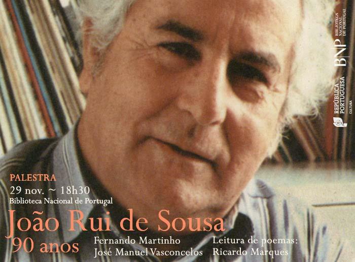 Palestra | João Rui de Sousa: 90 anos | 29 nov. | 18h30 | BNP