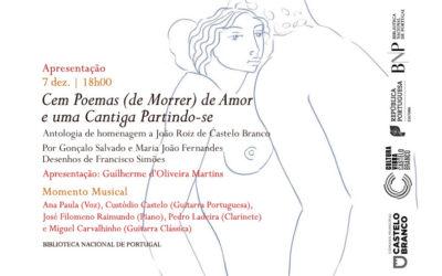 Apresentação   Cem Poemas (de Morrer) de Amor e uma Cantiga Partindo-se   7 dez.   18h00   BNP