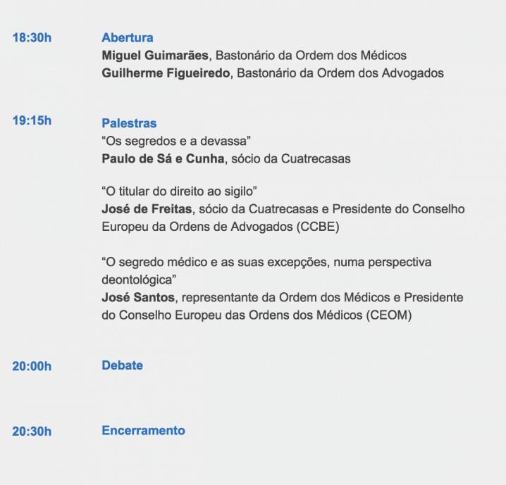 Conferência Defesa de Valores e Compressão de Direitos - 2 de abril, 18h30 - Ordem dos Médicos