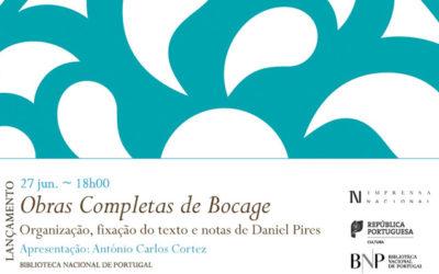 Lançamento | Obras Completas de Bocage | 27 jun. | 18h00 | BNP