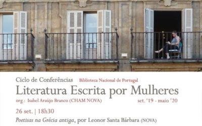 Ciclo de Conferências | Literatura Escrita por Mulheres – Poetisas na Grécia antiga | 26 set. | 18h30 | BNP