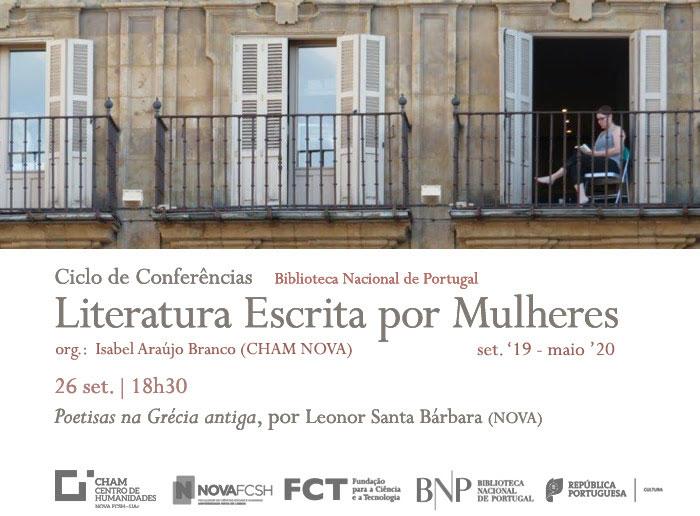 Ciclo de Conferências | Literatura Escrita por Mulheres - Poetisas na Grécia antiga | 26 set. | 18h30 | BNP