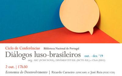 Ciclo de Conferências | Diálogos luso-brasileiros – Economia do Desenvolvimento | 2 out. | 17h30 | BNP