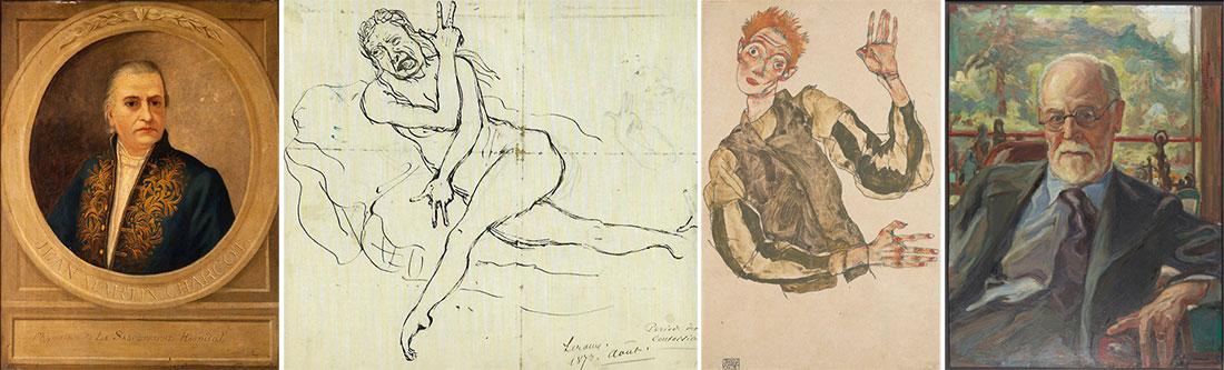 """""""Jean Martin Charcot"""" (Autor e data desconhecidos) (Coleção Wellcome), """"Estudos sobre a histeria"""" (1887) (Jean-Martin Charcot, 1825-1893), """"Auto-Retrato"""" (1915) (Egon Schiele, 1890-1918), """"Sigmund Freud"""" (1938) (Viktor Krausz, 1978-1959)"""