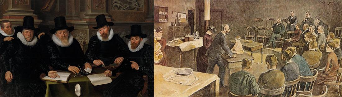 """""""Os médicos da leprosaria de Amsterdão"""" (1647) (Werner Valckert, 1600-1635), """"Aula de Pediatria numa clínica de New York"""" (1891) (Irwing Wiles, 1861-1948)"""