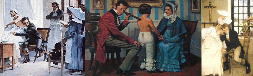 """Laennec auscultando um doente"""