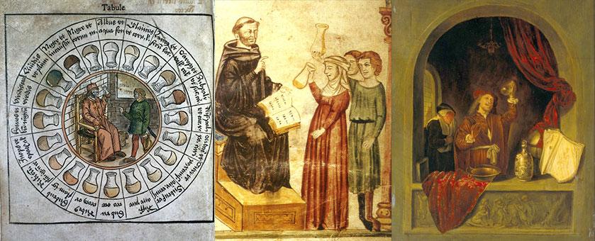 """""""Uroscopia"""" (Iluminura medieval de autor e data desconhecidos) (Coleção Wellcome), """"Constantino examina a urina de um doente"""" (Iluminura medieval de autor e data desconhecidos), """"O médico"""" (1663) (Gerrit Dou, 1618-1875)"""