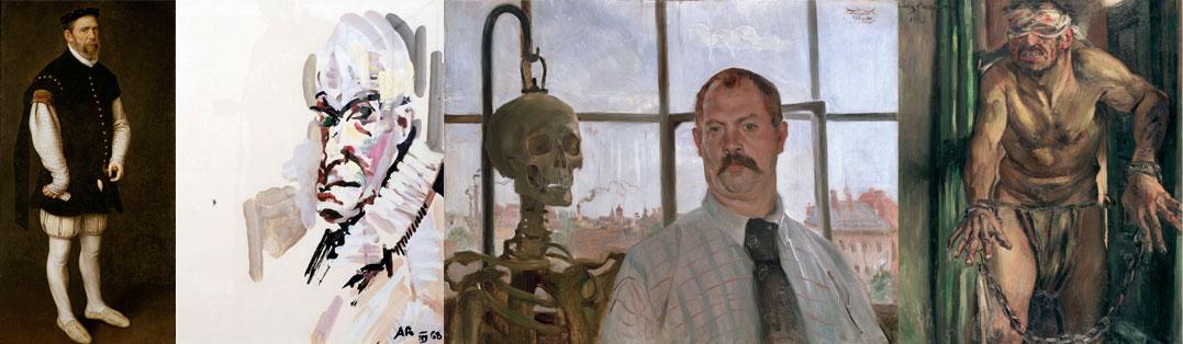 """""""Jester Pejeron"""", """"Autorretrato"""", """"Autorretrato com um esqueleto"""" e """"Autorretrato"""", """"Autorretrato enquanto prisioneiro de guerra"""""""