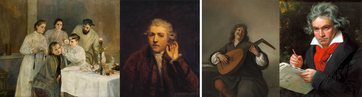 """Observação otorrinolaringológica"", ""Autorretrato enquanto surdo"", ""Autorretrato"" e ""Ludwig van Beethoven"""