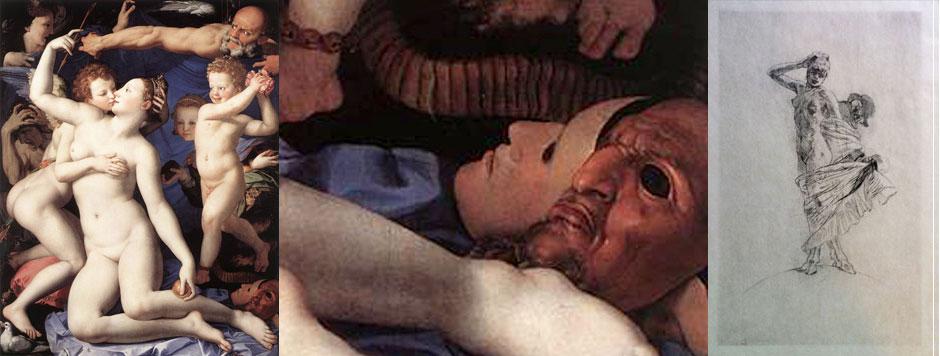 """""""Vénus e Cupido"""", de 1540, por Angelo Bronzino, 1503-1572, (idem, pormenor do canto inferior direito), e, """"A loucura e a prostituição dominam o muindo"""", do sec. XIX, por Felicien Rops, 1833-1898"""