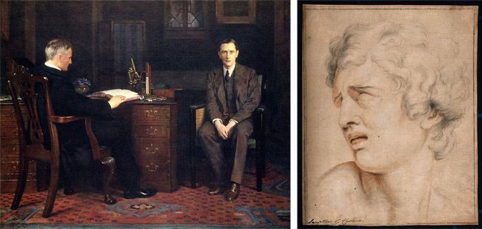 """""""Sentença de Morte"""" de 1908, por John Collier, 1950-1934, """"Sofrimento"""" (sec XVII) (Charles le Brun, 1619-1690) (Coleção Wellcome)"""