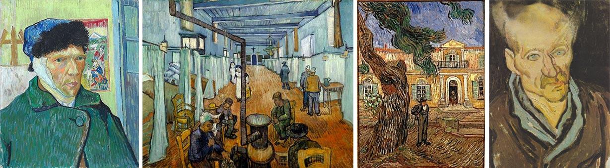 """""""Auto-retrato com a orelha cortada"""", """"Asilo de São Paulo"""" (1889) e """"Retrato de um doente"""", """"Casa dos Loucos"""", """"Philippe Pinel libertando os lunáticos da Salpêtriére"""""""
