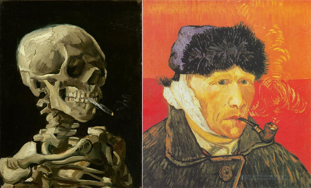 """""""Esqueleto de cárneo com cigarro aceso"""" e """"Autorretrato com cachimbo"""""""