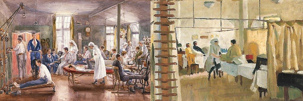 """Reabilitação no Hospital de Bath aos soldados da 1ª Guerra Mundial"""", """"Sala de massagem"""""""