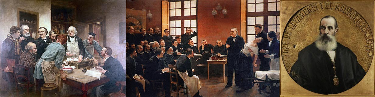 """Claude Bernard e os seus discípulos"", ""Aula de Charcot na Salpêtriére"", ""José de Latamendi"""