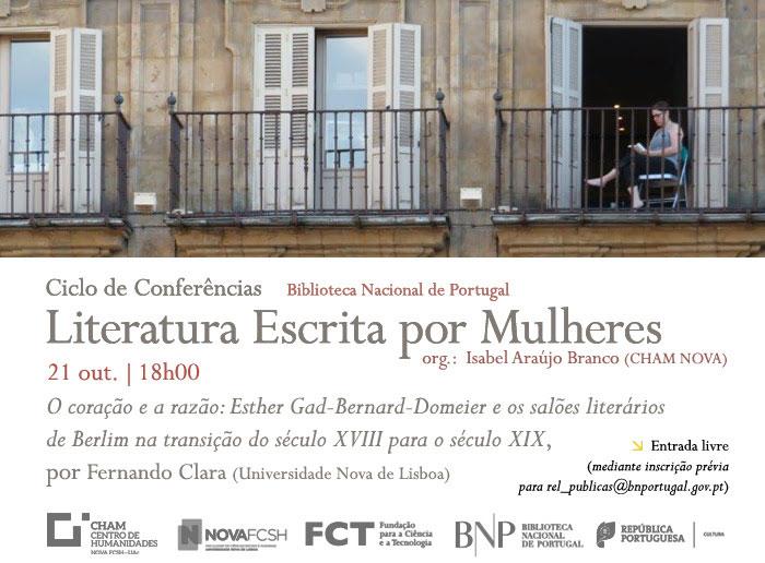 Ciclo de Conferências | O coração e a razão: Esther Gad-Bernard-Domeier e os salões literários de Berlim... | 21 out. | 18h00 | BNP