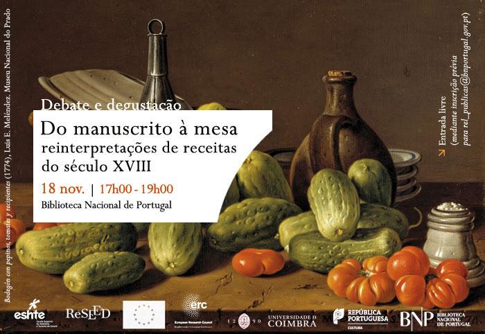 Debate e degustação | Do manuscrito à mesa: reinterpretações de receitas do século XVIII | 18 nov. | 17h00 | BNP