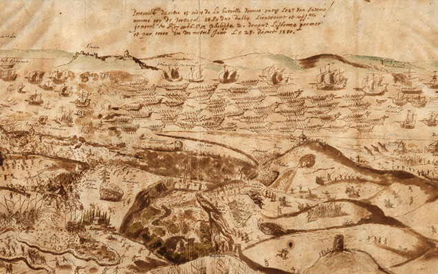 Dois mapas de batalhas entre Portugal e Espanha: 1580-1644