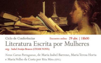 Conferência online | Ciclo Literatura Escrita por Mulheres | Novas Cartas Portuguesas | 29 abr. | 18h00